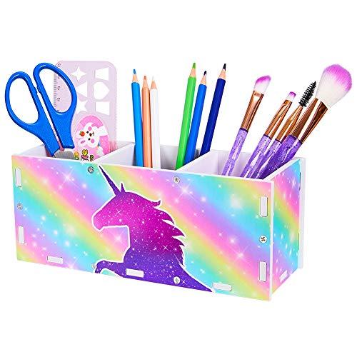 Beinou - Soporte para lápices de unicornio escritorio, organizador bricolaje, bote, pinceles maquillaje, niños, almacenamiento cosméticos casa, oficina, aula, 3 ranuras