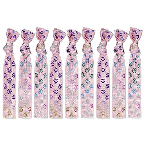 9 Pcs Pink Ribbon Elastic Hair Ties Rainbow Gold Stamp Prints No Crease Hair Ties for Women Ouchless Bridesmaid Ponytail Holder