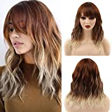 Headband Wig with Bangs for Women Ombre Brown Blonde Wavy Hair Short Colored Synthetic Heat Resistant Wigs Natural Looking for Cosplay Daily Party(14',Ombre Brown Blonde)