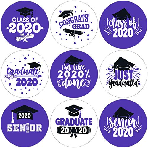 Class of 2020 Graduation Party Kisses Chocolate Stickers Labels | Graduation Party Decorations | 270 Stickers(Purple)