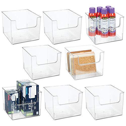 mDesign Juego de 8 Cajas organizadoras de Oficina – Gavetas de plástico para bolígrafos, Gomas, celo, Reglas y Material de Arte – Organizador de Escritorio con el Frente Abierto – Transparente