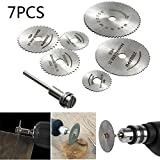 7Pcs Set Disc Drill Blades and Mandrel,Metal Drill Cutting Discs for Wood Plastic Metal Cutting...