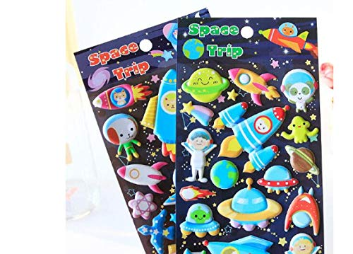 votgl 4 stks PET PVC Materiaal Waterdichte Stickers Ruimte Kosmische Bubble Wrap Sticker Cartoon Puzzel Spacecraft Stickers