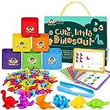 Tacobear Juguetes Montessori Juguetes Contar Dinosaurio de Colores Coordinados con Tazas y Tarjetas de Aprendizaje Motoras Finas Juego Educativos Montessori Juguete para Niños Bebés 2 3 4 5 6 años
