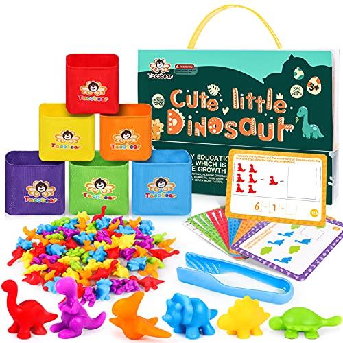 Tacobear Juguetes Montessori Juguetes Contar Dinosaurio de Colores Coordinados con Tazas y Tarjetas de Aprendizaje Motoras Finas Juego Educativos Montessori...