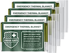 FOUR MYLAR EMERGENCY BLANKETS (Army Green) - Advanced dual-sided aluminized mylar blankets. BONUS GOLD SPACE BLANKET - Each package includes ONE EXTRA GOLD colored space blanket. LIGHTWEIGHT AND DURABLE - Military-grade 12-micron aluminized polyethyl...