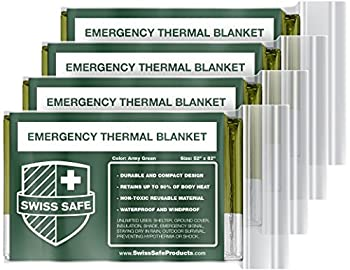 Swiss Safe Emergency Mylar Thermal Blankets + Bonus Gold Foil Space Blanket Designed for NASA Outdoors Survival First Aid Army Green 4 Pack