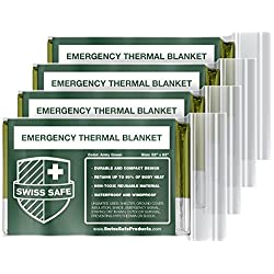 Swiss Safe Emergency Mylar Thermal Blankets (4-Pack) + Bonus Signature...