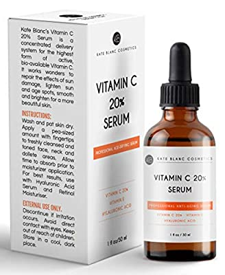 Vitamin C Serum for Face with Hyaluronic Acid & Vitamin E by Kate Blanc. Anti-aging to Reduce Fine Lines, Wrinkles, Dark Spots, Scars, Acne. Tighter, Toned Skin.
