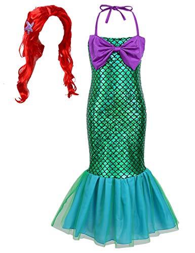 TiaoBug Mädchen kleine Meerjungfrau Kostüm Pailletten Kinder Prinzessin Kleid Halloween Weihnachten Verkleidung Karneval Partykleid Festzug Kleidung gr 92-128 mit Perücke 122-128
