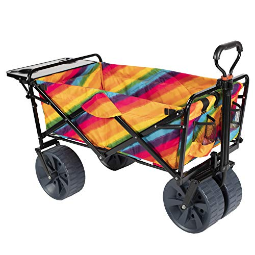 Mac Sports Collapsible Folding Outdoor Wagon with Side Table, Perfect for Camping, Concerts, Sporting Events, The Beach, and More - American Flag Pattern (Beach, Rainbow)
