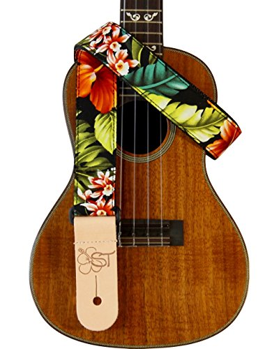 "1.5"" Hawaiian Print Ukulele Strap - Bird of Paradise"