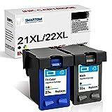 SMARTOMI Remanufacturado 21XL 22 compatibles con HP 21 22 XL para HP Deskjet D1468 D1520 D1420 D2330 D2430 D2460 D2445 D2320 F2180 F4180 F2140 F2290 F2280 F2188 (1 Negro 1 Tricolor)
