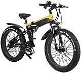 Bicicleta eléctrica de nieve, 26 'Bicicleta de montaña eléctrica plegable para adultos, 500W WATT MOTOR 21/7 velocidades Cambio de bicicleta eléctrica para la ciudad Desplazamiento de viajes de ciclis