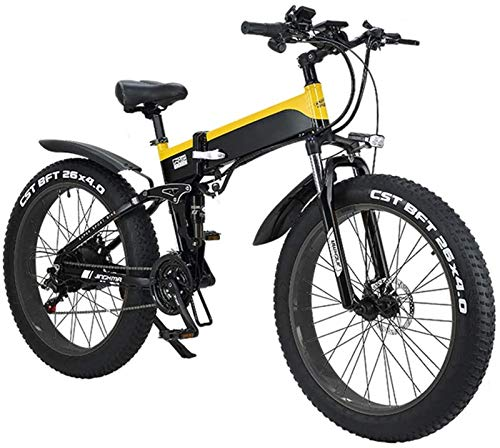 Electric Bikes, 26' Electric Mountain Bike Folding for Adults, 500W Watt Motor 21/7 Speeds Shift Electric Bike for City Commuting Outdoor Cycling Travel Work Out,E-Bike (Color : Yellow)