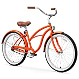sixthreezero Women's 1-Speed 26-Inch Beach Cruiser Bicycle, Dreamcycle Orange w/Brown Seat/Grips