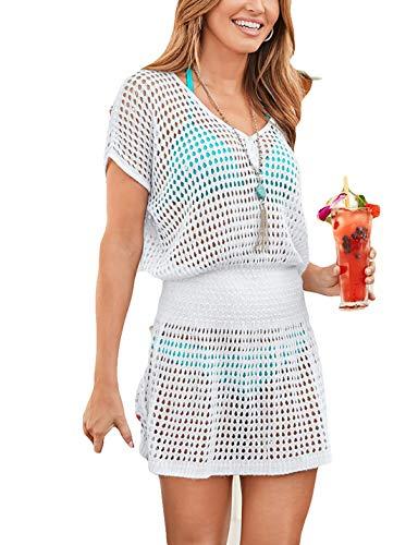 AILUNSNIKA Women White V Neck Knitted Hollow Out Swimsuit Cover Up Crochet High Waist Short Tunic Beach Dress