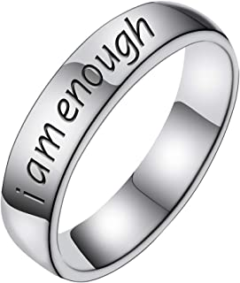 I Am Enough Stainless Steel Awareness Ring Inspiration Jewelry Suicide Depression
