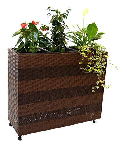 Blumentrog Pflanztrog Polyrattan Raumteiler mit Rollen LxBxH 106x40x90cm coffeebraun