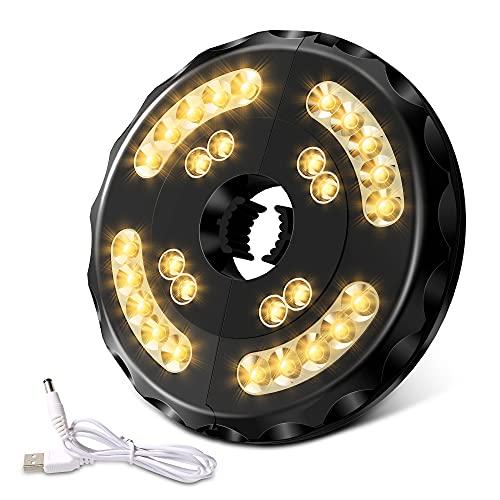 Lampada Ombrellone Giardino, Wireless Ricaricabile Lampada per Ombrellone con 28 LED 400 Lumen 2 modalità, Batterie 4400mAh Integrate, Luci per Ombrellone per Patio, Piscina e Spiaggia(Luce Calda)