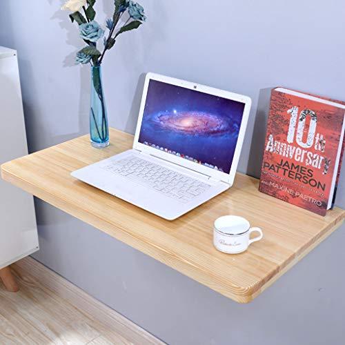 Table se pliante en bois solide résistante, bureau se pliant fixé au mur en bois naturel, pliage de Tableau de mur de bureau de table d'étude de bureau d'ordinateur (taille : 60×50CM)