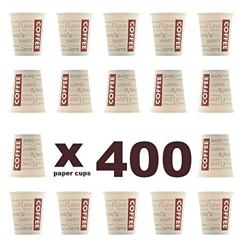400 unidades. Coffee to go - Vasos de café reciclables 180 ml, resistentes al calor. 400 unidades. Café para llevar. Fabricado con material 100% reciclable. Vasos para bebidas calientes y frías.