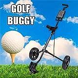 Plegable 2 Ruedas Push Pull Carro de Golf de la Carretilla, Empuje Manual/Tirar del Carro de Golf, con Altura Ajustable Giratorio del Carro de Golf, Negro SLONGS