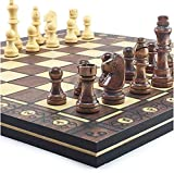 MWKLW Juego de ajedrez magnético de ajedrez Staunton, Juego de ajedrez de Madera súper magnético, Damas de Backgammon, Juego de ajedrez 3 en 1, Juego de ajedrez de Viaje de ajedrez Antiguo