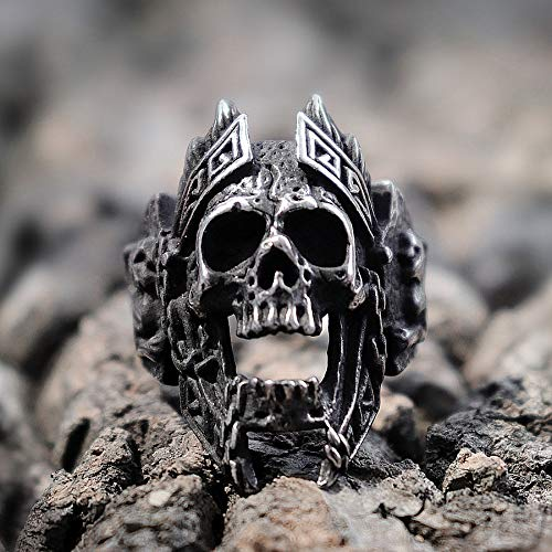 SDFASD Unique Gods of War Ares Skull Rings Punk Rock Warrior 316L Anillo De Acero Inoxidable para Hombre Biker Jewelry 12