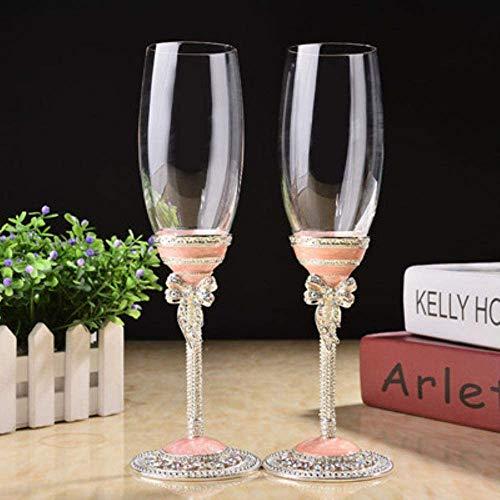 Ambachtelijke kunst witte roze huwelijk glazen champagne rode wijn bruid bruidegom kristal emaille kop partij decor Roosteren Goblet, roze zhihao (Color : Pink)