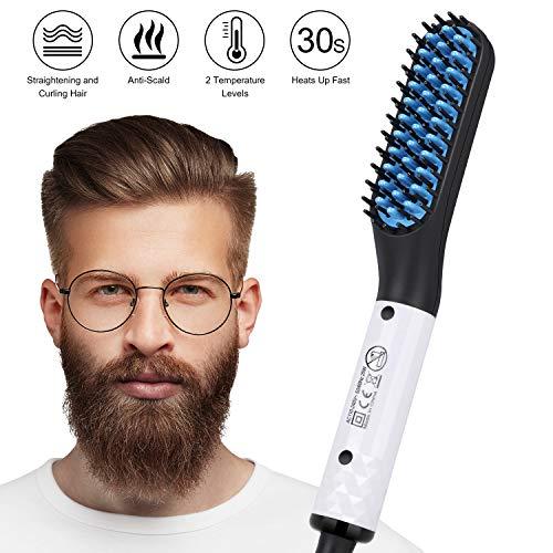 Lisseur Barbe et Cheveux Homme, Tencoz Multifonctionnel Lisseur Barbe Rapide Lisseur de Barbe Peigne Lisseur Barbe pour Hommes Peigne Chauffant Barbe Cadeau pour Hommes,pour Père