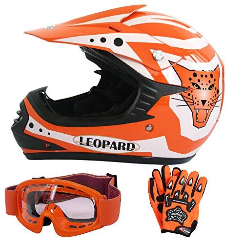 Leopard LEO-X17 Orange Kinder Motorrad Helm S(49-50cm) + Handschuhe S-5cm + Zorax Brille Kinder Motorradhelm Full Face MX Helmet Mädchen Jungen Dirt Bike