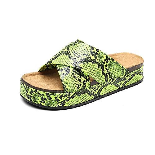 ZJMM Sandalias De Verano Verdes para Mujer, Sandalias De Desgaste Exterior con Estampado De Serpiente De Fondo Grueso, Sandalias De Mujer De Gran Tamaño, Zapatillas De Playa