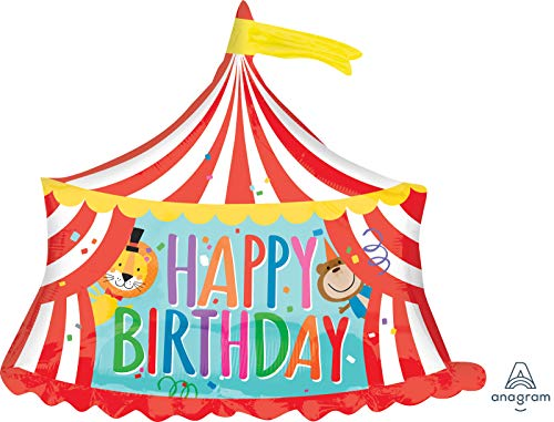 amscan 3565901 Happy Birthday Circus Tent Foil Balloon-1 Pc, Colour