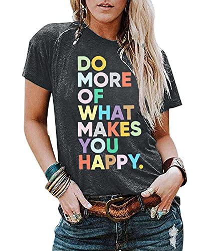 Women's Fun Happy Graphic Tees Inspirational t-Shirt Teacher Shirts Cute Short Sleeve Letter Printed T-Shirts Top Dark Grey