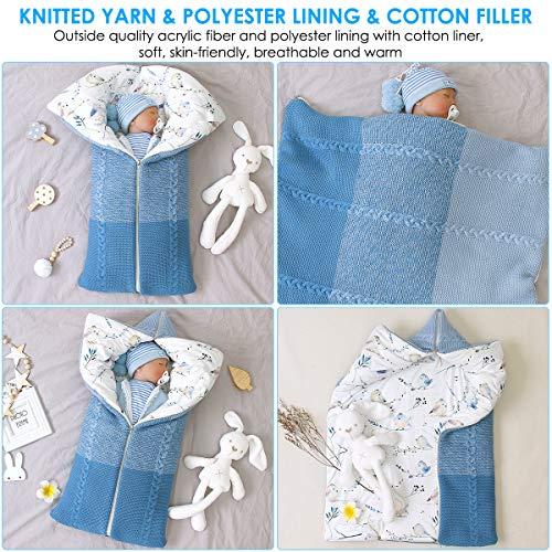 coperta passeggino, coperta swaddle neonato sacco a pelo caldo invernale per bimbi o bambine 0-12 mesi (blu)