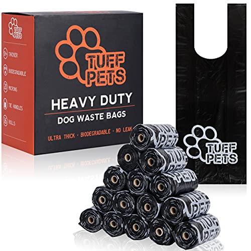 Tuff Pets 50% Stärkere Hundekotbeutel | Biologisch Abbaubare Kackbeutel Mit Schlaufen Auf Einer Rolle | 16 Hundebeutel Mit Henkel Nachfüllrollen Für Spender | Dicke Kotbeutel