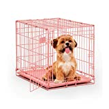 Pink Dog Crate, MidWest iCrate 24' Pink Folding Metal Dog Crate with Divider Panel, Floor Protecting Feet & Leak Proof Dog Tray, 24 L x 18 W x 19 H Inches, Small Dog Breed