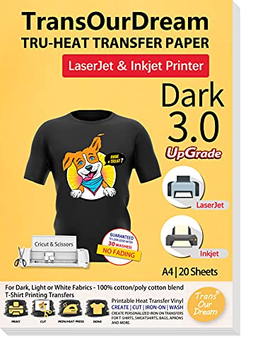 TransOurDream Tru-Transfer Paper Upgraded 3.0-20 Sheets A4 for Inkjet&Laser Printer Iron On Heat Transfer Paper for Dark Fabric Transfer Paper for Black T-Shirts Printable Vinyl(Trans-03-20)
