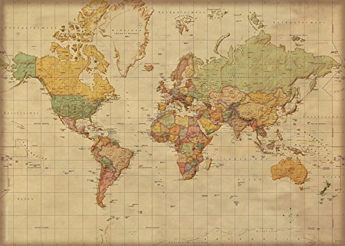 Landkarten Giant XXL Poster - Weltkarte Antik deutsche Version - Bildungsposter 1:30 Mio. - 140x100 cm - Vintage World Map German Version