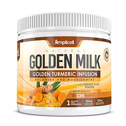 Natural Golden Milk - 135g Golden Milk Powder - Organic Turmeric Powder w/ Ashwagandha Powder - Turmeric Ashwagandha Organic Superfood Blend w/ Ginger Root & Mushroom Powder Super Food - 30 Day Supply