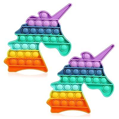 HiUnicorn Unicorn Sensory Fidget Toy Gift, Push Bubbles Game Autism Stress Toy School Office Crafts for Kids Adults (2-Pack Rainbow Unicorn) from HiUnicorn