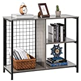 YITAHOME Console Table, Industrial Rustic Console Table with Iron Mesh, 3 Tier Narrow Console Table with Storage Shelves at Different Height, Sofa Tables for Entryway, Hallway, Living Room, Grey Wash