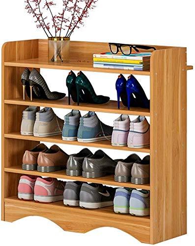 ZouYongKang Rack de zapatos de pie libre de 5 niveles - Bambú natural - Estante de almacenamiento de zapatos para zapatos Almacenamiento de zapatos a prueba de polvo de 5 capas 60x25x75cm Espacio inte
