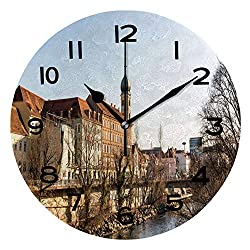ALUONI Print Round Wall Clock, 10 Inch City of Graz Mur River River Bankcity Center Styria Region of Austria Quiet Desk Clock for Home,Office,School IS080417