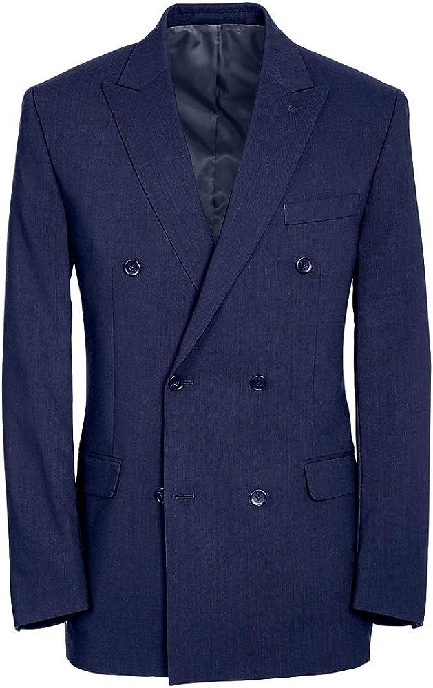 Paul Fredrick Men's Classic Fit Essential Wool Double Breasted Peak Lapel Jacket