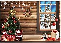 HD 7X5ftクリスマスツリー素朴なキャビン写真背景クリスマス冬木の床ウィンドウ背景屋内装飾肖像写真ブースバナー写真スタジオ小道具