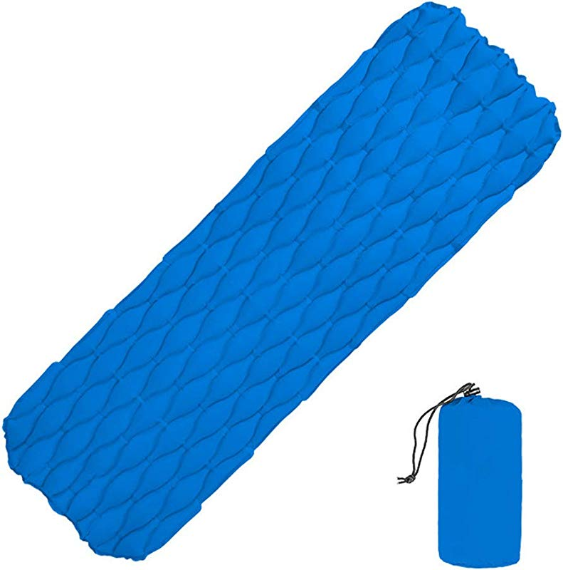 JinJin Sleeping Camping Sleeping Pad 74 X 23 6 X 2 4 Inches Mat Ultralight 0 88 Lb Best Sleeping Pads For Backpacking Hiking Air Mattress Lightweight Inflatable Compact Camp Sleep Blue