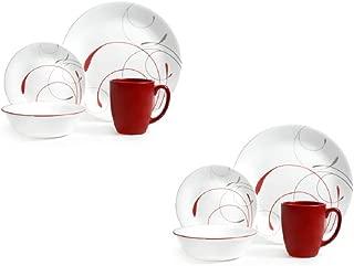 Corelle Livingware 16-Piece Dinnerware Set, Splendor Coupe (Set of 2 total 32-Pieces)