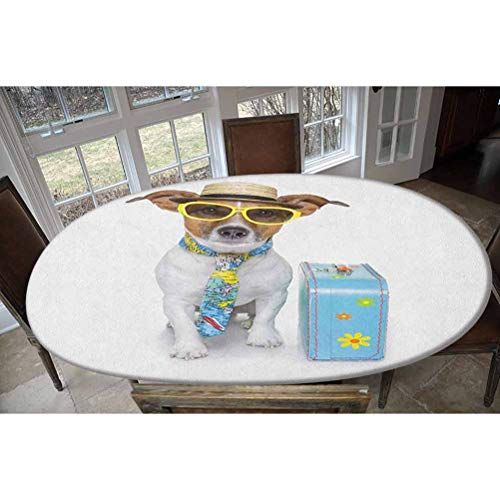 Elastic Polyester Fitted Table Cover,Traveler Funny Dog Dressed as a Tourist with Hat Glasses Necktie and a Floral Suitcase Oblong/Oval Elastic Fitted Tablecloth,Fits Tables up to 48' W x 68' L